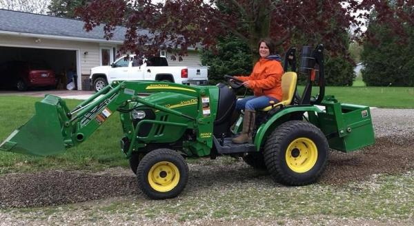 Mary on tractor