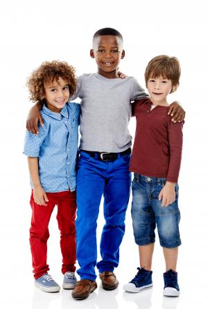 3 diverse kids standing